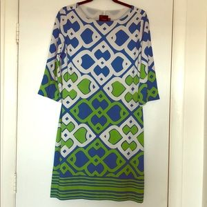 Just...Taylor Blue, White & Lime Green Dress